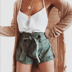 Pants - Olive utility paper bag high waisted shorts